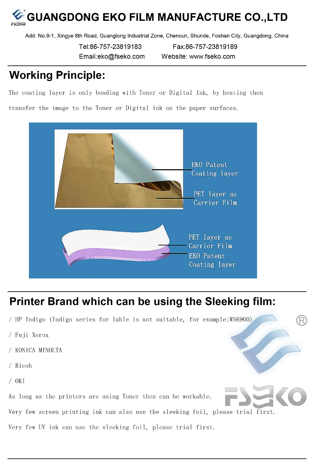 FSEKO-Metallized Polypropylene Film Capacitor-eko Digital Hot Sleeking Film Instruction-1